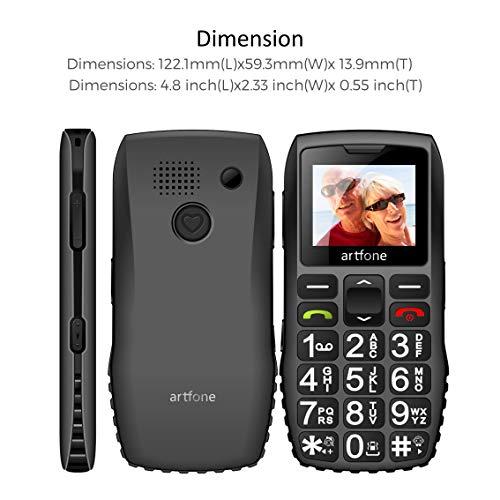 artfone C1+ Seniorenhandy ohne Vertrag | Dual SIM Handy mit Notruftaste | Rentner Handy große Tasten | 1400 mAh Akku Lange Standby-Zeit | Großtastenhandy mit Ladestation | 1,77 Zoll Farbdisplay - 3