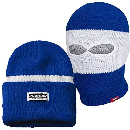 PGwear Mütze und Sturmhaube in schwarz rot blau grau (Blau)