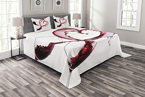 ABAKUHAUS du vin Couvre-Lit, Coeur Renverser Vin, pour Le Salon, 220 x 220 cm, Bourgogne Blanc Rose