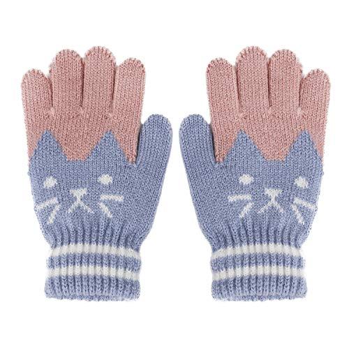 FakeFace Süße Kinder Fingerhandschuhe Gestrickte Handschuhe mit Katze Jungen Mädchen Winter Warme Kinderhandschuhe Strickhandschuhe