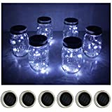 6 Pack Mason Jar Lights 10 LED Solar Cool White Fairy String Lights Lids Insert for Patio Yard Garden Party Wedding Christmas Decorative Lighting Fit for Regular Mouth Jars(Jars Not Included)