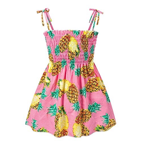 Toddler Baby Girl Dresses Casual Sleeveless Straps Cute Floral Princess Sundress Summer Clothes Outfits 12 Months-5 Years (Pink Pineapple, 2_Years)