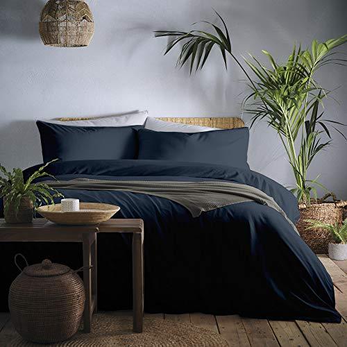 Appletree Cassia-180 TC Garment Washed Duvet Cover Set, 100% Cotton, Ink Blue, Super-King