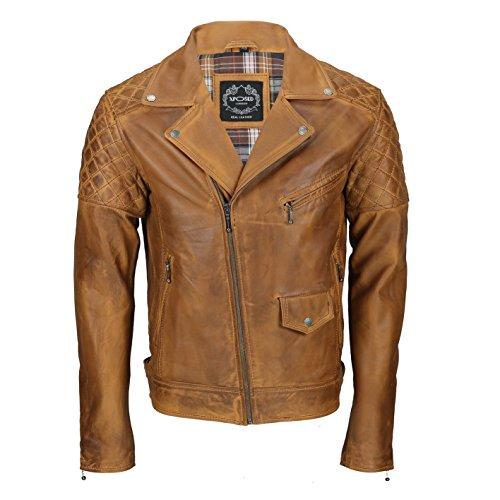 Xposed Chaqueta de piel auténtica para hombre, estilo motociclista, estilo retro, color negro, marrón, marrón y marrón