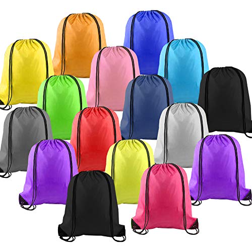 LUCWI 16Pcs Multicolor Drawstring Backpack, Sports Cinch Sacks String Backpack Bags for Traveling Gym Yoga Storage Gift(NOTE: Brand Name is LUCWI!!))