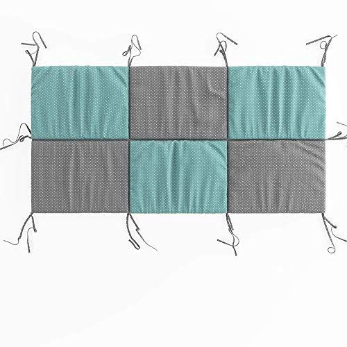 VitaliSpa Hausbett Kinderbett Bettrückwand Wiki in den Varianten: 140x70 // 160x72 // 200X85 cm erhältlich in: Rosa-Grau, Weiß-Grau und Türkis-Grau (Türkis-Grau, 70cm x 140cm)