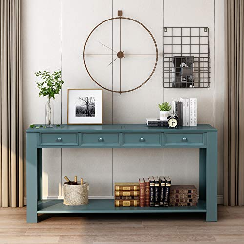 Narrow Console Table Sofa Table with Storage Drawers and Bottom Shelf Wooden for Living Room Hallway Entryway Dark Blue