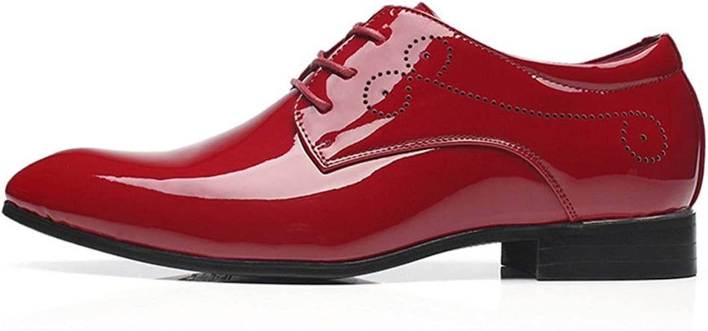 Qiusa Mens Klassische Spitzschuh Schuhe Schuhe Soft Sole Poliert Lackleder Lace up Derbys (Farbe   Rot, Größe   EU 44)  Alles in hoher Qualität und günstigem Preis