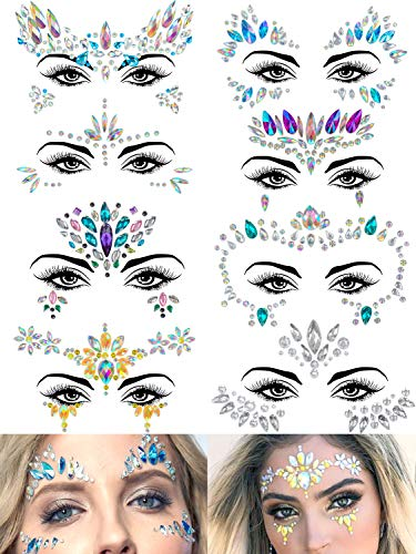 Warmfits 8 Sets Face Gems Mermaid Face Jewels Stick On Crystal Rhinestone Rave Festival Face Gemstones Stickers - Rainbow Tears Gem Stones Face Temporary Tattoos Stickers for Festival Holiday Costumes