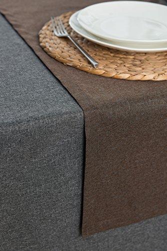 Rollmayer abwaschbar Tischläufer Wasserabweisend/Lotuseffekt (Melange Braun 17S, 40x120cm) Leinenoptik Tischtuch mit pflegeleicht Fleckschutz, Rechteckig, Farbe & Größe wählbar