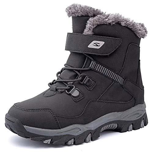 GUBARUN Boys Snow Boots Kids Hiking Boots Warm Shoes Slip Resistant Warterproof(Black-12 Little Kid)