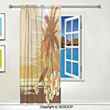 SCOCICI Window Sheer Curtain 1 Panel,Silhouette of a Surfer and Tropical Landscape Free Your Mind Artsy Voile Curtain Drapes Panels for Bedroom Living Room Decor W55 X L84 inch