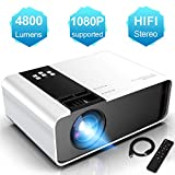 Mini Vidéoprojecteur, WayGoal Projecteur 1080P Full HD Supporte, 4800 Lumens Retroprojecteur Portable Multimédia Home Cinéma Compatible VGA HDMI AV USB IOS/Android, Blanc