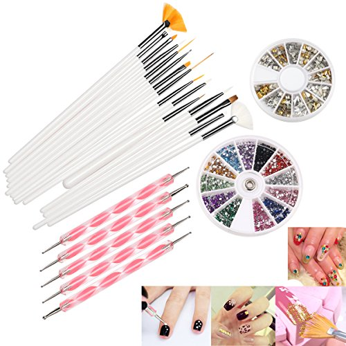 RUIMIO 5 Dotting Pens, 15 Nail Art Brush, 12 Colors Nail Rhinestones and Gold/Silver Studs