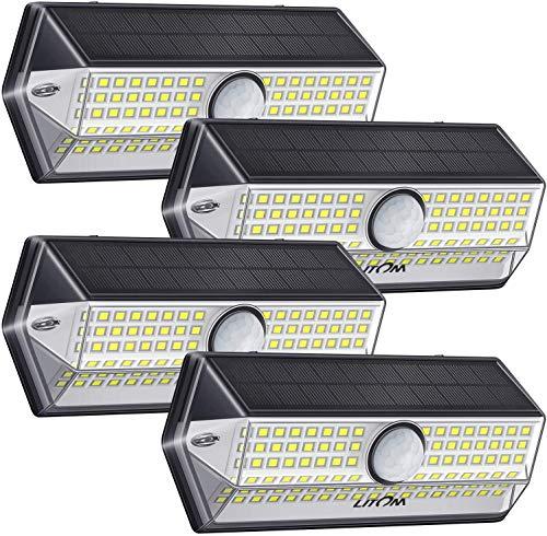 Luz Solar Exterior【Súper Brillante 4 Modos】con Sensor de Movimiento, LITOM Focos LED Exterior,...