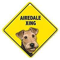 AIRDALE XING ラミネートサイン:エアデール 横断 注意 Made in U.S.A [並行輸入品]