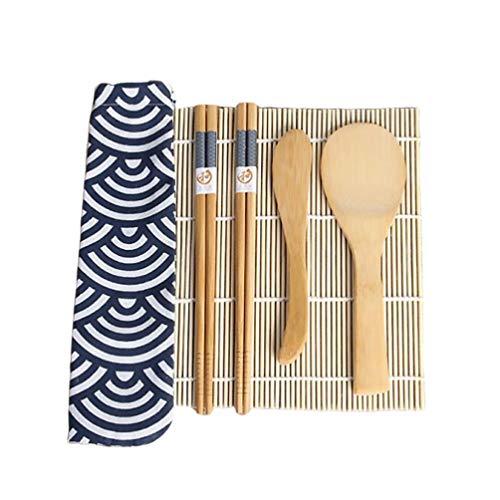 Hemoton Kit per Fare Sushi in bambù, 6 Pezzi, Tappetino per arrotolare Il Sushi, Include 1 tappetini per Sushi in bambù, 2 Paia di Bacchette, 1 spatola per Riso, 1 spatola per Riso,1 Sacco