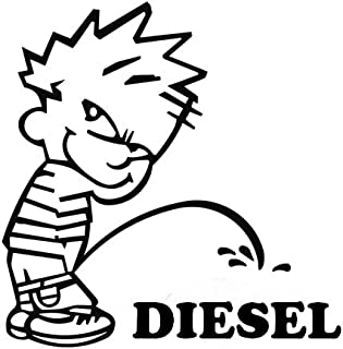 Onlinemart Funny Boy Peeing Diesel Universal for all Car Stickers (11.5x11.5 cm)