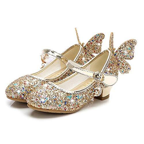 LanXi Mädchen Prinzessin Schuhe Sandalen Glitzer Prinzessin Gelee Partei Absatz-Schuhe Für Kinder Pailletten Kristall Sandalen Cosplay Kostüm Karneval Party Aufführung(29 EU,Gold)