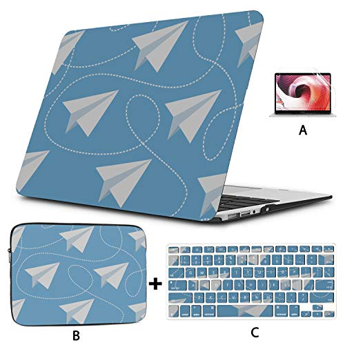 MacBook Air 1466 Case Paper Plane Young Cute Laptop Pro Accessories Hard Shell Mac Air 11'/13' Pro 13'/15'/16' with Notebook Sleeve Bag for MacBook 2008-2020 Version