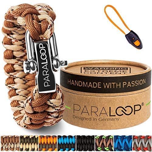 PARALOOP Pulsera de paracord original para hombres + colgante con silbato de señalización trenzado, hecha a mano, con caja de regalo, cierre de acero inoxidable, pulseras para hombre, camuflaje marrón
