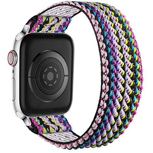 Ouwegaga Replacement Strap Compatible with Apple Watch 44mm 42mm 40mm 38mm, Soft Nylon Elastic Wristband Stretchy Solo Loop Strap Compatible with iWatch Series SE 6 5 4 3 2 1, 38mm/40mm-S/M Ethnic