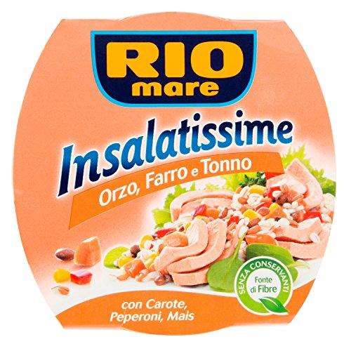 Rio Mare Insalatissime Orzo, Farro e Tonno Pinne Gialle con Carote, Peperoni e Mais, Senza Conservanti, 1 Lattina da 160 g