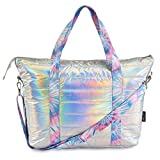 TOP TRENZ Puffer Ice Tie Dye Strap Tote Bag - Weekender Bag for Women of All Ages - Perfect Overnight Bag for Travel, School, or Work