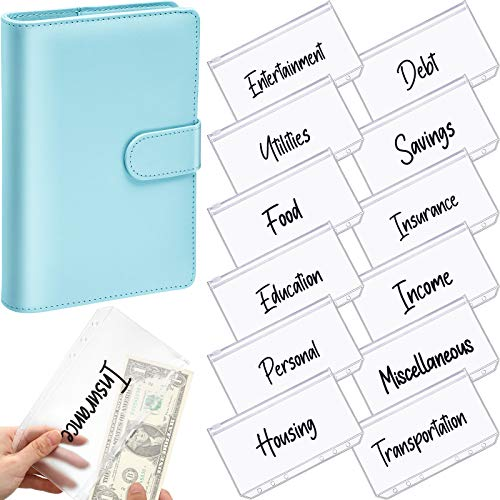 A6 PU Leather Notebook Binder Planner Budget Organizer Round Ring Binder Cover Magnetic Personal Planner Binder with 12 Binder Pocket Binder Zipper Folders for Bill Planner (Blue, Black Printing)