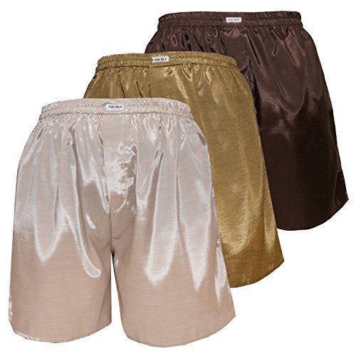 3er Mischen Herren Comfort Nachtwäsche Unterwäsche Thai Silk Boxershorts (XXL, Creme Gold Braun)