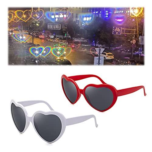Gafas De Efectos Especiales En Forma De Corazón,2 Piezas Gafas 3D con efecto de corazón,luz en forma de corazón Gafas de Sol en Forma de Corazón gafas de caleidoscopio en forma de corazón(Rojo/Blanco)