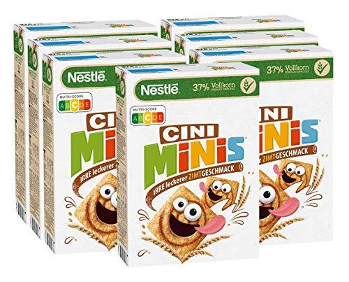 Nestlé Cini Minis, Cerealien mit Zimtgeschmack, 37% vitales Vollkorn, Mit Vitaminen, Calcium und Eisen, Krunchy Knusper Flakes, 7er Vorratspack (7 x 375g)