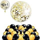 40 Globos Oro y Negro + 1 Globo Confeti Gigante XXL Confetti Balloon. Globo Transparente con Confeti Dorado para Fiesta de Año Nuevo, Cumpleaño, Graduacion