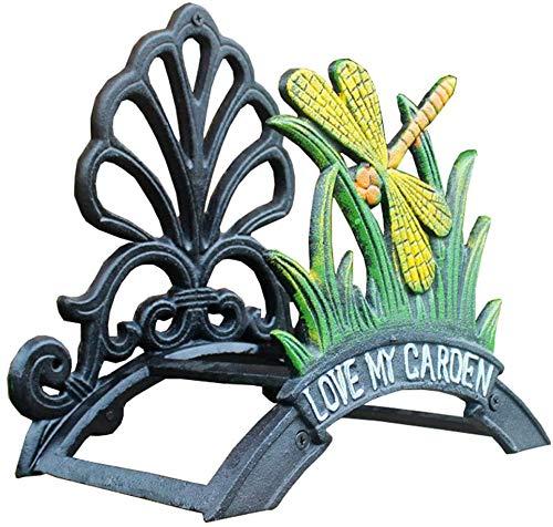WUAZ Manguera de jardín Percha Carrete de Manguera Manguera Soporte Holder, Hierro Fundido Diseño Antiguo montado en la Pared de la Manguera Holder