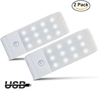 Luces de Noche LEDGPISEN Pack de 2 Luces con Sensor de MovimientoLámpara Nocturna USB RecargableLuz inalambrica cálida ...