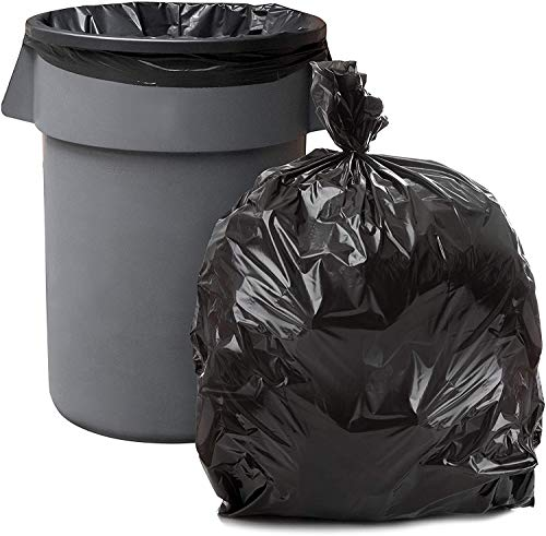 """Plasticplace 55-60 Gallon Trash Bags │ T55125BK 1.2 Mil │ Black Heavy Duty Garbage Can Liners │ 38"""" x 58"""" (50 Count)"""