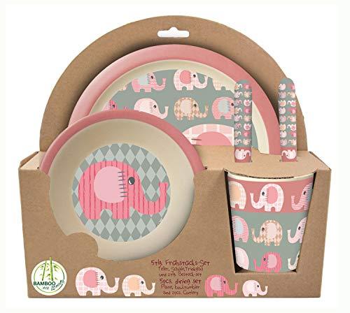 POS 30750 - Frühstücksset 5 teilig aus Bambus mit niedlichem Elefantinis Motiv, besteht aus Teller, Schale, Becher, Gabel und Löffel, für kleine Kinder, bpa- und phthalatfrei, spülmaschinengeeignet
