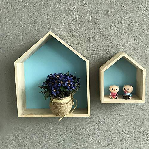 Lembeauty, set di 2 mensole in legno a forma di casetta in stile nordico naturale, mensole da parete, mensole da appendere per decorare la cameretta dei bambini Blue