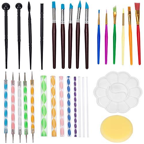30 herramientas de punteo para pintar mandalas, rocas, puntos, kits de escultura de cerámica, escultura de polímero de arcilla, incluye bolígrafos de punta de goma modelado