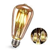 E27 Vintage Edison Bombilla,FOGARI 4W 2300K Retro Decorativas LED Bombilla, ST64 Bombilla Retro Lámpara Ámbar Decorativa para Bar,Restaurante, Cafetería, Tienda Boda Decoración, 1 Pieza