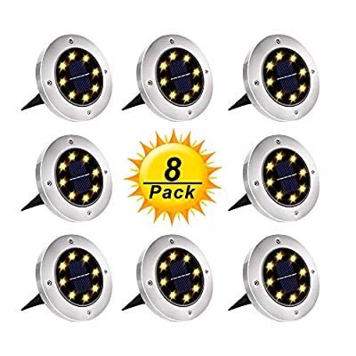 Solar Ground Lights, Upgraded Outdoor Garden Waterproof Bright in-Ground Lights for Lawn Pathway Yard Driveway, with 8 LED Warm White Lights (8 Pack) Lesonano
