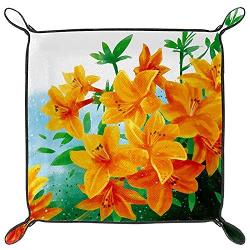Joyeria de cuero para mujer valet Tray Snap Buckle Design Dice Holder Cambio Key Wallet Monedero Bandeja de almacenamiento de la mesita de noche, Rhododendron Golden Eagle Flower