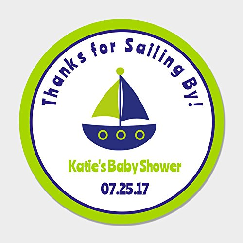 40 Personalized Thanks for Sailing By Baby Shower Favor Stickers - Sailboat Party Favor Labels - Nautical Shower Favor Tags