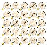 Lote de 25 bombillas E12 LED de repuesto G40, guirnalda decorativa, estilo Edison retro, color blanco cálido (2200 K) 230 V – 25 unidades