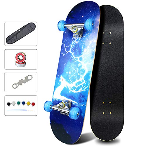 Easy_Way Complete Skateboards- Standard Skateboards with Colorful Flashing Wheels for Beginners Kids Boys Girls Teenager- 31''x 8''Canadian Maple...