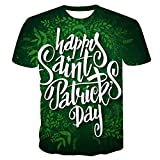 """Camiseta de manga corta para mujer y hombre, diseño con texto en inglés """"Happy St. Patrick's Day"""", color verde trébol, suelta, cuello redondo, unisex, talla grande (S-6XL)"""