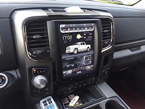 10.4 inch Octa core Android 9.0 1280x768 Car Vertical Screen Tesla Style 32GB ROM Auto AC Control Bluetooth Radio GPS Navigation for Dodge Ram1500 Only 2013-2017 Year can fit