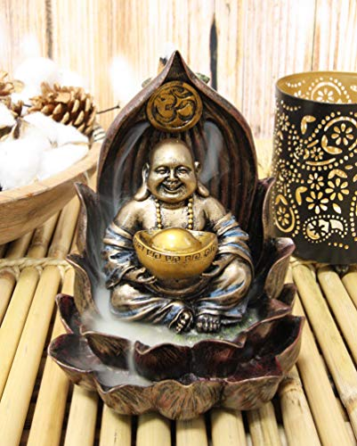 Ebros Matreiya Happy Laughing Buddha Hotei Carrying Gold Ingot Seated On Ohm Lotus Padma Throne Backflow Cone Incense Burner Statue 6'Tall Buddhism Statue Feng Shui Luck And Prosperity Decor Sculpture