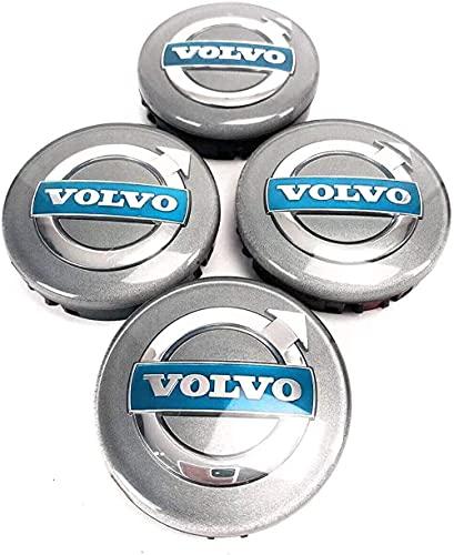 4pcs Coche eje de la rueda Tapas centrales para Volvo Grey Logo 64mm XC C70 S40 V50 S60 V60 V70 S80, a Prueba de Polvo Decorativa Accesorios De Estilo