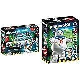 PLAYMOBIL Ghostbusters Ecto-1 con Módulo de Luz y Sonido, a Partir de 6 Años (9220) + Ghostbusters Muñeco Marshmallow, A Partir de 6 Años (9221)